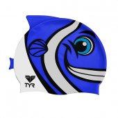 TYR Casca inot silicon copii Happy Fish albastra
