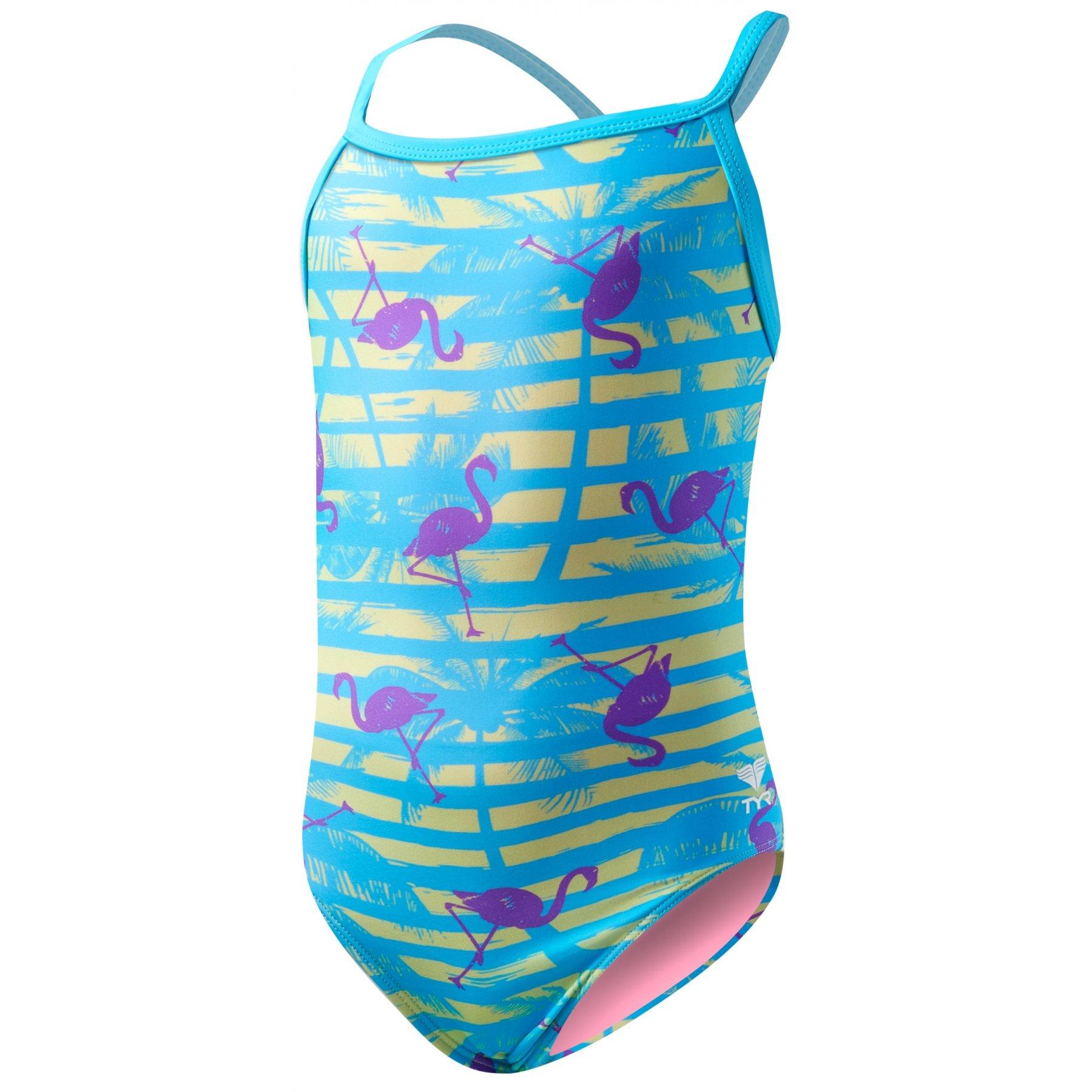 Tyr Childrens Swimming Costume Flamingo Stripe Diamondfit Blue